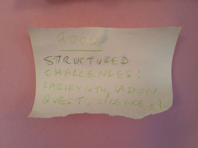 Structured challenges labyrinth vision quest silence