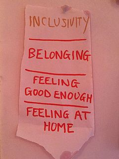 Inclusivity Belonging Feeling good enough Feeling at home